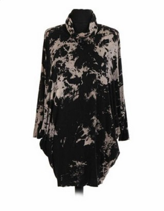 OgLuxe Womens Italian Lagenlook 2 Piece Quirky Tie Dye Batwing Sleeve Snood Tunic Viscous Dress Plus Size 12-22 (CHARCAOL One Size Fits UK (14-22))