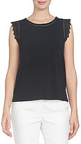 CeCe Sleeveless Eyelet Inset Crepe Knit Top