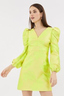 Coast Puff Sleeve V Neck Jacquard Dress