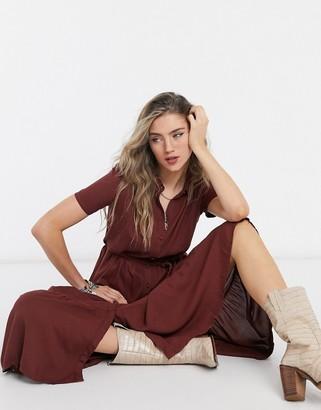 Vero Moda high neck maxi dress in brown