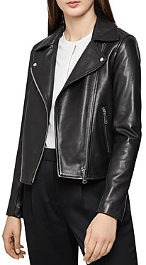 Reiss Geo Soft Leather Biker Jacket