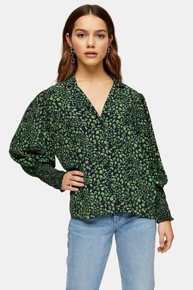 Topshop Womens Petite Green Fan Print Shirt - Green