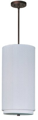 Denning 1 - Light Single Cylinder Pendant Bayou Breeze Color: Oil Rubbed Bronze, Glass Color: White Weave
