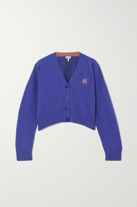 Loewe Cropped Embroidered Wool Cardigan - Blue