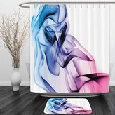 Vipsung Shower Curtain And Ground MatAbstract Decor by Abstract Artwork with Colorful Smoke Dynamic Flow Swirl Contemporary Art Fuchsia BlueShower Curtain Set with Bath Mats Rugs