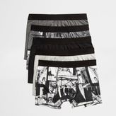 River Island Grey Mono Photograph Print Trunks Multipack