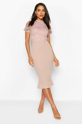 boohoo Lace High Neck Ruffle Hem Midi Dress
