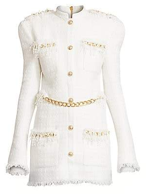 Balmain Women's Chain-Trimmed Tweed Dress