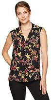 Chaus Women's Cap Sleeve Mixed Media Floral V-Neck Top