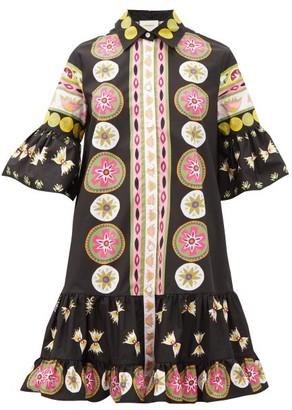 La DoubleJ Choux Geometric-print Cotton-poplin Dress - Pink Multi