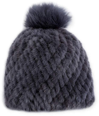 Pologeorgis Knitted Fur Hat w/ Pompom