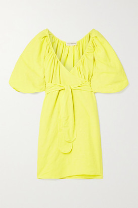 Mara Hoffman Net Sustain Coletta Organic Cotton And Linen-blend Mini Wrap Dress - Chartreuse