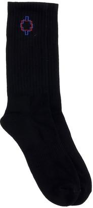 Marcelo Burlon County of Milan Square Outline Socks In Black Cotton