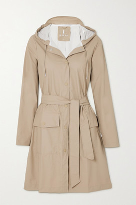 Rains Belted Hooded Shell Coat - Beige