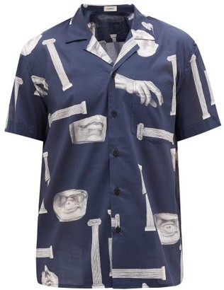 COMMAS Colosseum-print Cotton Shirt - Mens - Navy Multi