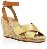 Tory Burch Bima Metallic Espadrille Wedge Sandals