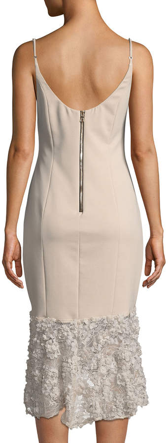 Maria Bianca Nero Milly Sleeveless Tea-Length Dress w/ Lace Bottom