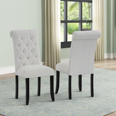 Red Barrel Studio Aishah Linen Upholstered Parsons Chair In Beige Shopstyle