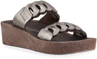 Pedro Garcia Leona Metallic Two-Band Slide Sandals