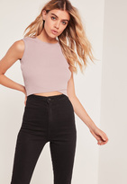 Missguided Purple Wrap Front Sleeveless Crop Top