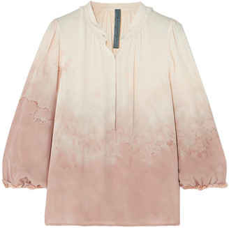 Raquel Allegra Tie-dyed Silk-georgette Blouse