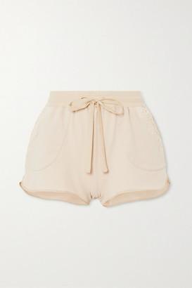 I.D. Sarrieri Lace-trimmed Cotton-blend Jersey Shorts - Ecru