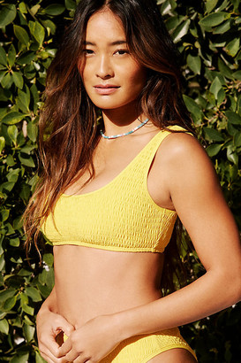 L-Space Lizzie Smocked Bikini Top By in Yellow Size XS
