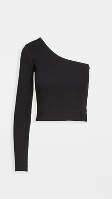Bassike Rib One Shoulder Crop Top