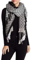 Collection XIIX Geo Print Fringe Knit Scarf