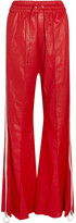 Off-White Striped Leather Wide-leg Pants - Red