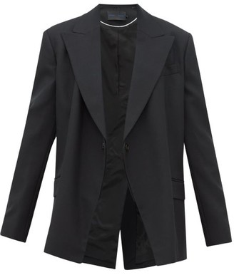 Proenza Schouler Detachable Lapel Wool Blend Twill Blazer - Womens - Black