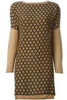 Agnona geometric print slit sides blouse
