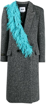 MSGM Feather-Trim Double-Breasted Coat