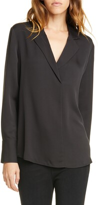 Frame Notch Collar Silk Blouse