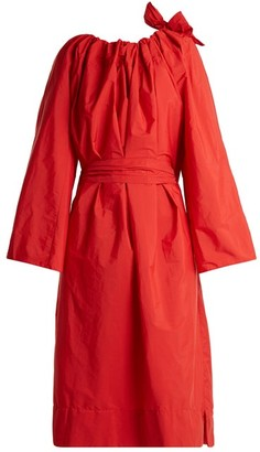 Maison Rabih Kayrouz Tie-neck Gathered Paper-taffeta Dress - Womens - Red