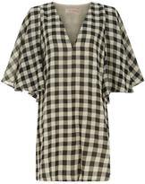 Traffic People Checkered Flutter Dress