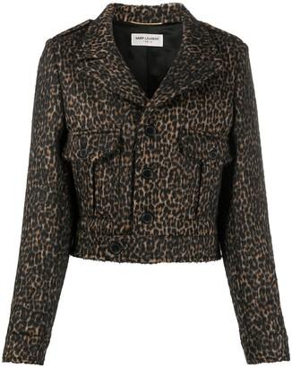 Saint Laurent Cropped Leopard Print Jacket