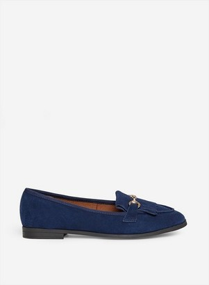 Dorothy Perkins Womens Wide Fit Navy 'Lime' Leather Loafers