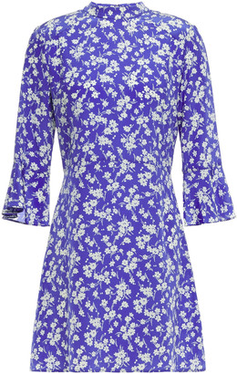HVN Floral-print Silk Mini Dress