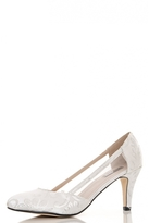 Quiz White Jacquard Mesh Detail Court Shoes
