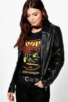 boohoo Lottie Leather Look Biker Jacket black