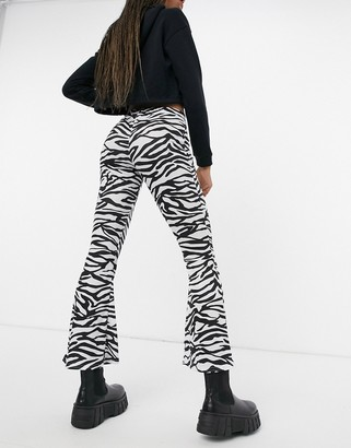 Another Reason high waisted flare trousers in monogram zebra