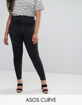 Asos Rivington Jeggings In Marbled Black With Panel Details