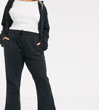 Nike Plus premium high waist wide leg joggers in black