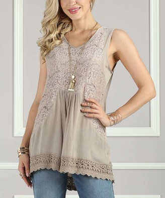 Suzanne Betro Women's Tank Tops 101taupe - Taupe Lace-Accent Sleeveless Tunic - Women & Plus