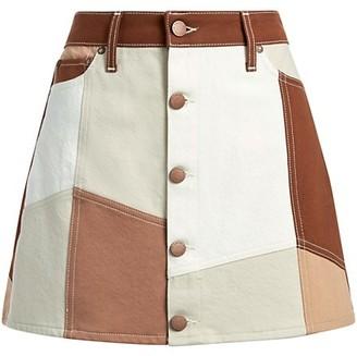 Alice + Olivia Jeans Good High-Rise Patchwork Mini Skirt