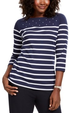 Karen Scott Colorblocked Studded Top, Created for Macy's