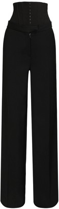 Thierry Mugler Wool Wide Leg Pants W/ Corset Belt