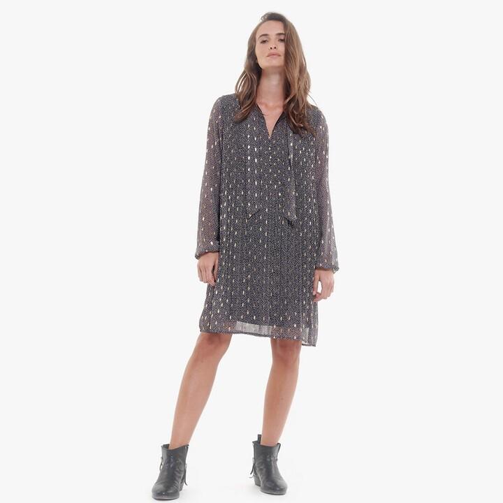 Thumbnail for your product : Le Temps Des Cerises Foil Print Flared Mini Dress