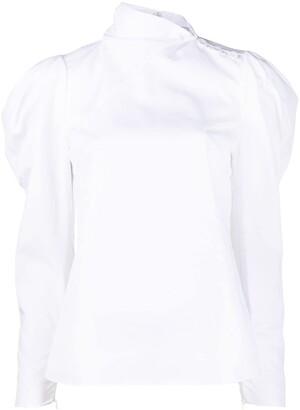 Erdem Cedric gathered long-sleeved blouse